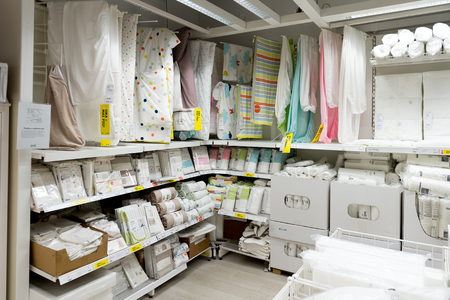 LUGANO, SWITZERLAND -NOV 4, 2017: Interior of the IKEA shop in Lugano, Switzerland. The company was found in Sweden in 1943