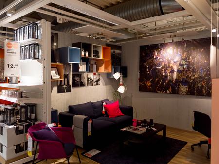 LUGANO, SWITZERLAND -NOV 4, 2017: Living room, IKEA shop in Lugano, Switzerland. The company was found in Sweden in 1943