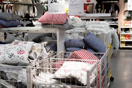 LUGANO, SWITZERLAND -NOV 4, 2017: Pillows in the IKEA shop in Lugano, Switzerland. The company was found in Sweden in 1943