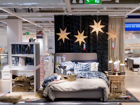 LUGANO, SWITZERLAND -NOV 4, 2017: Bed room in the IKEA shop in Lugano, Switzerland. The company was found in Sweden in 1943
