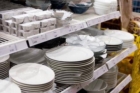 LUGANO, SWITZERLAND -NOV 4, 2017: Plates in the IKEA shop in Lugano, Switzerland. The company was found in Sweden in 1943