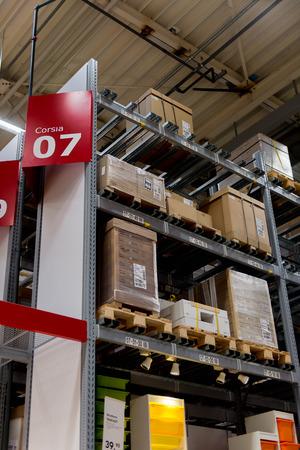 LUGANO, SWITZERLAND -NOV 4, 2017: Storage in the IKEA shop in Lugano, Switzerland. The company was found in Sweden in 1943 Redactioneel