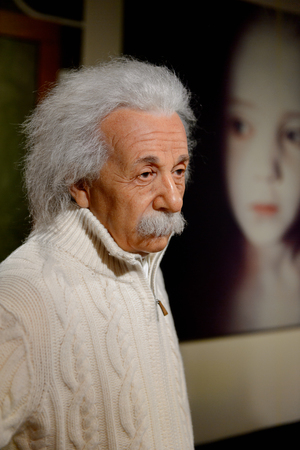 VIENNA, AUSTRIA - OCT 4, 2017:  Albert Einstein, theoretical physicist, Madame Tussauds wax museum in Vienna.