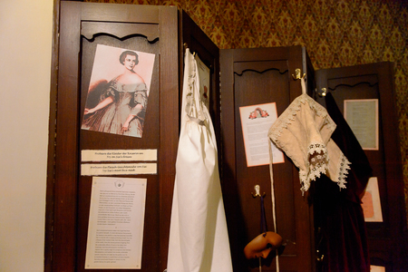 VIENNA, AUSTRIA - OCT 4, 2017: Dress room of  Elisabeth in Bavaria (Sisi) , Empress of Austria and Queen of Hungary, Madame Tussauds wax museum in Vienna.