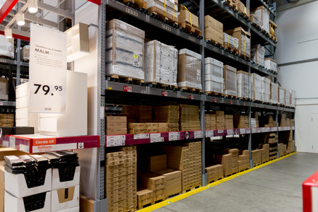 LUGANO, SWITZERLAND -NOV 4, 2017: Storage in the IKEA shop in Lugano, Switzerland. The company was found in Sweden in 1943