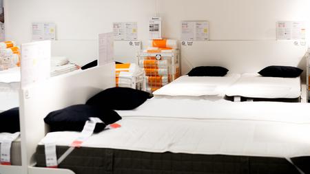 LUGANO, SWITZERLAND -NOV 4, 2017: Bed in the IKEA shop in Lugano, Switzerland. The company was found in Sweden in 1943