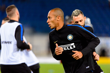 ROME - OCT 29, 2018: Joao Miranda 23 warms up. SS Lazio - FC Internazionale Milano. Serie A TIM. Stadio Olimpico. Редакционное