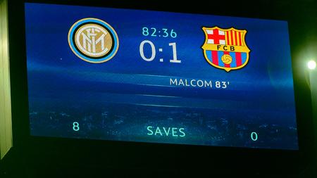 Milan - Nov 6, 2018: 0:1 on the scrren. FC Internazionale - FC Barcelona. UEFA Champions League. Matchday 4. Giuseppe Meazza (San Siro) stadium. Editorial