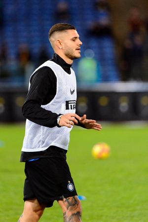 ROME - OCT 29, 2018: Mauro Icardi 9. SS Lazio - FC Internazionale Milano. Serie A TIM. Stadio Olimpico. 에디토리얼