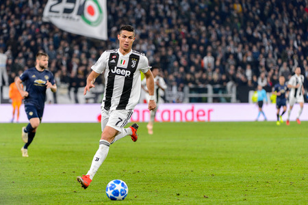 Turin - Nov 7, 2018:  Cristiano Ronaldo 7 controls the ball on speed. Juventus - Manchester United. UEFA Champions League. Matchday 4. Allianz stadium.