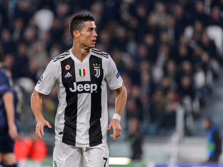 Turin - Nov 7, 2018:  Cristiano Ronaldo 7 portrait. Juventus - Manchester United. UEFA Champions League. Matchday 4. Allianz stadium.