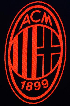 MILAN - OCT 25, 2018: AC MIlan emblem. AC Milan - Betis. UEFA Europe League. Giuseppe Meazza stadium. Redakční
