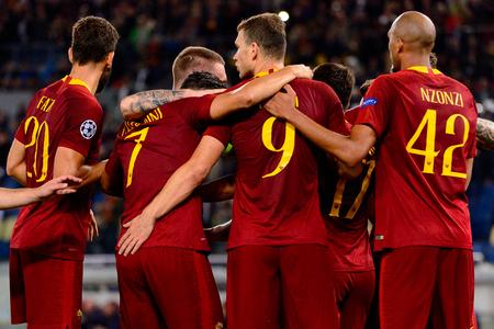 ROME - OCT 23, 2018:  Edin Dzeko celebratates the goal with his teammates. AS Roma - CSKA Moscow. UEFA Champions league. Matchday 4. Stadio Olimpico Redakční