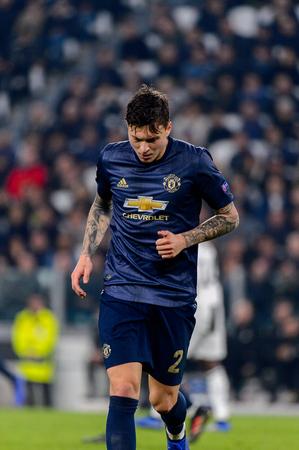 Turin - Nov 7, 2018: Victor Lindelof 2. Juventus - Manchester United. UEFA Champions League. Matchday 4. Allianz stadium.