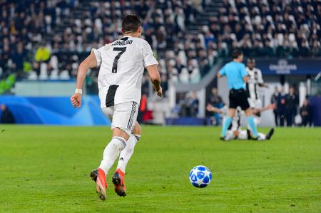Turin - Nov 7, 2018:  Cristiano Ronaldo 7 controls the ball on speed. Juventus - Manchester United. UEFA Champions League. Matchday 4. Allianz stadium.