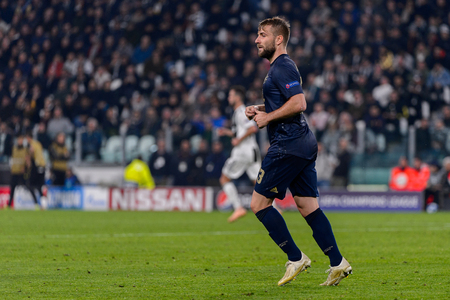 Turin - Nov 7, 2018: Luke Shaw 23. Juventus - Manchester United. UEFA Champions League. Matchday 4. Allianz stadium.
