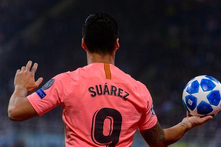 Milan - Nov 6, 2018: Luis Suarez 9. FC Internazionale - FC Barcelona. UEFA Champions League. Matchday 4. Giuseppe Meazza (San Siro) stadium.