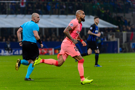 Milan - Nov 6, 2018: Arturo Vidal runs quickly. FC Internazionale - FC Barcelona. UEFA Champions League. Matchday 4. Giuseppe Meazza (San Siro) stadium.