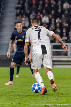 Turin - Nov 7, 2018:  Cristiano Ronaldo 7 shows his ball possession technic. Juventus - Manchester United. UEFA Champions League. Matchday 4. Allianz stadium.
