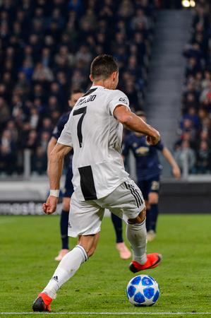 Turin - Nov 7, 2018:  Cristiano Ronaldo 7 shows his ball possession technic. Juventus - Manchester United. UEFA Champions League. Matchday 4. Allianz stadium.