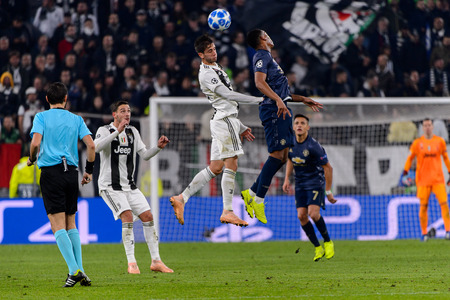 Turin - Nov 7, 2018: Anthony Martial 11 attacks with a head. Juventus - Manchester United. UEFA Champions League. Matchday 4. Allianz stadium.