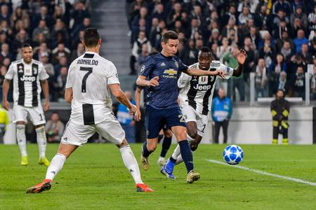 Turin - Nov 7, 2018:  Cristiano Ronaldo 7. Juventus - Manchester United. UEFA Champions League. Matchday 4. Allianz stadium.