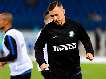 ROME - OCT 29, 2018: Ivan Perisic 44 warms up. SS Lazio - FC Internazionale Milano. Serie A TIM. Stadio Olimpico.