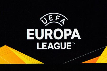 MILAN - OCT 25, 2018: Europa League logo. AC Milan - Betis. UEFA Europe League. Giuseppe Meazza stadium.