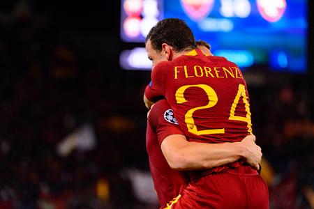 ROME - OCT 23, 2018:  Edin Dzeko celebratates the goal with Florenzi. AS Roma - CSKA Moscow. UEFA Champions league. Matchday 4. Stadio Olimpico Redakční