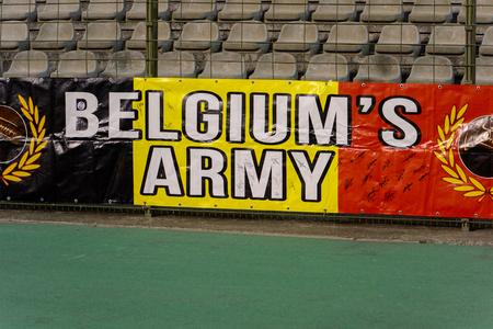 BRUSSELS - NOV 15, 2018: Belgium fans at the stadium.  Belgium - Iceland. UEFA Nations League. Redakční