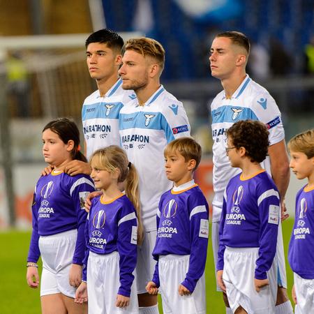 ROME - NOV 8, 2018: Ciro Immobile 17 before the match. SS Lazio - Olympique Marseille. UEFA Europe League. Stadio Olimpico.