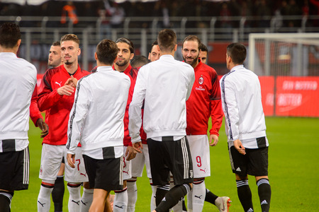 MILAN - NOV 11, 2018: Gonzalo Higuain 9. AC Milan - Juventus. Italian Serie A TIM. Giuseppe Meazza Stadium Redakční