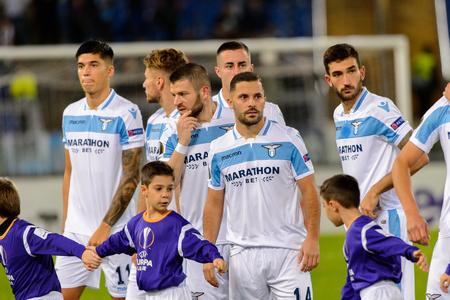 ROME - NOV 8, 2018: Lazio players before the match. SS Lazio - Olympique Marseille. UEFA Europe League. Stadio Olimpico. Redakční