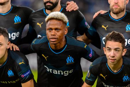 ROME - NOV 8, 2018: Clinton Njie 14 close up portrait. SS Lazio - Olympique Marseille. UEFA Europe League. Stadio Olimpico.