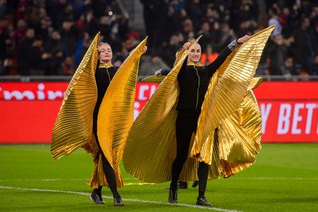 MILAN - NOV 11, 2018: Dancing performance by young girls. AC Milan - Juventus. Italian Serie A TIM. Giuseppe Meazza Stadium
