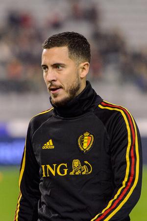 BRUSSELS - NOV 15, 2018: Eden Hazard 10 close up portrait.  Belgium - Iceland. UEFA Nations League.