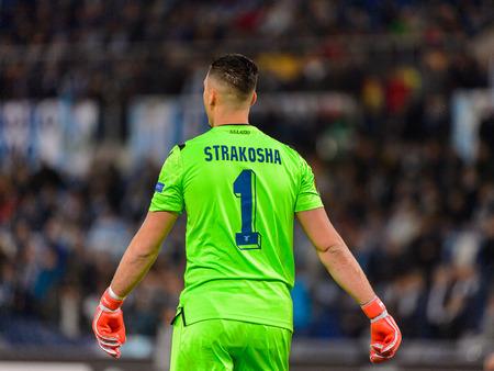 ROME - NOV 8, 2018: Thomas Strakosha 1. SS Lazio - Olympique Marseille. UEFA Europe League. Stadio Olimpico. Redakční