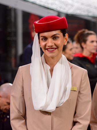 MILAN - NOV 11, 2018: Emirates stewardess before the match. AC Milan - Juventus. Italian Serie A TIM. Giuseppe Meazza Stadium Redakční