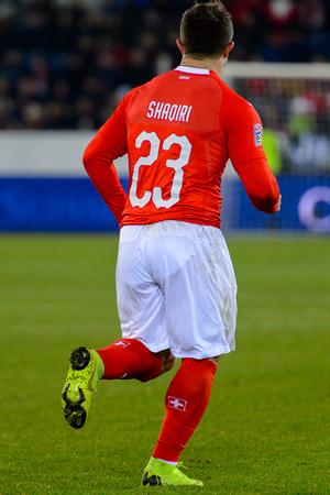 LUCERNE - NOV 18, 2018: Xherdan Shaqiri 23. Switzeland - Belgium. UEFA Nations League. Swissporarena, Luzern Redakční
