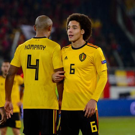 LUCERNE - NOV 18, 2018: Vincent Kompany 4 and Axel Witsel. Switzeland - Belgium. UEFA Nations League. Swissporarena, Luzern