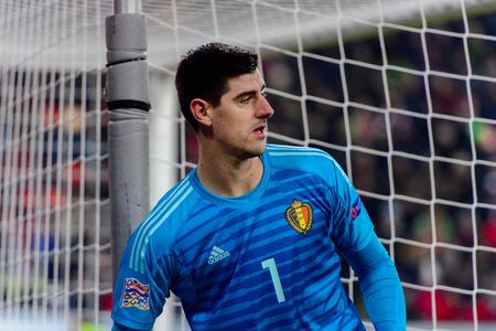 LUCERNE - NOV 18, 2018: Thibaut Courtois 1 portrait. Switzeland - Belgium. UEFA Nations League. Swissporarena, Luzern