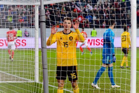 LUCERNE - NOV 18, 2018: Thomas Meunier 15 disapointed after missing a goal. Switzeland - Belgium. UEFA Nations League. Swissporarena, Luzern Reklamní fotografie - 121150248