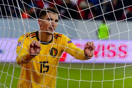 LUCERNE - NOV 18, 2018: Thomas Meunier 15 disapointed after missing a goal. Switzeland - Belgium. UEFA Nations League. Swissporarena, Luzern