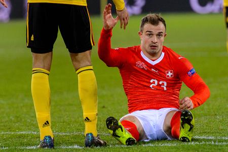LUCERNE - NOV 18, 2018: Xherdan Shaqiri 23 on the grass. Switzeland - Belgium. UEFA Nations League. Swissporarena, Luzern Redakční