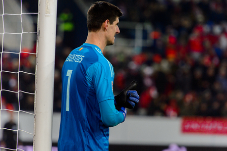 LUCERNE - NOV 18, 2018: Thibaut Courtois 1. Switzeland - Belgium. UEFA Nations League. Swissporarena, Luzern