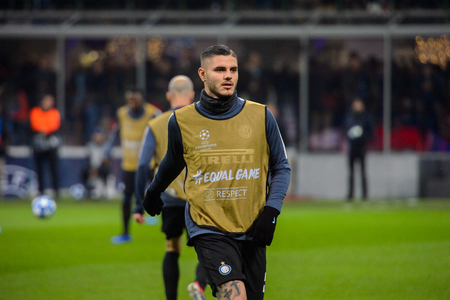 MILAN - DEC 11, 2018: Mauro Icardi 9 warms up. FC Internazionale - PSV Eindhoven. UEFA Champions League. Giuseppe Meazza stadium. Editorial