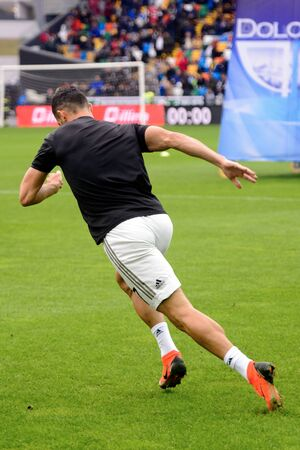 UDINE, ITALY - OCT 6, 2018: Cristiano Ronaldo accelerates. Warming up. Udinese - Juventus. Serie A Editorial