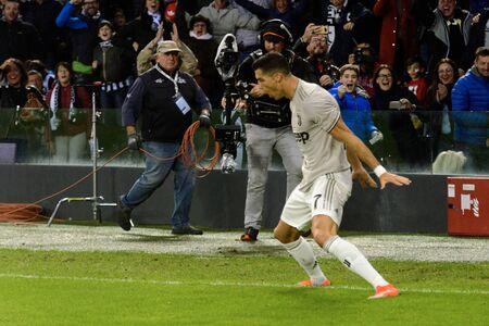 UDINE, ITALY - OCT 6, 2018: Cristiano Ronaldo celebrates his goal in his famous jump. Udinese - Juventus. Dacia Arena stadium. Serie A TIM Editorial