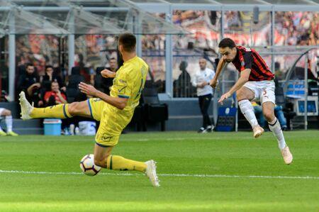 MILAN - OCT 7, 2018: Giacomo Bonaventura shoots the ball. AC Milan - Chievo. San Siro stadium. Serie A.