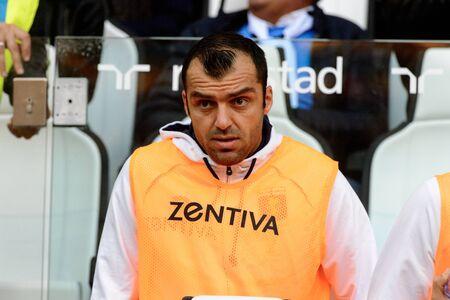 TURIN - OCT 20, 2018: 19 Goran Pandev portrait.  Juventus F.C. - Genoa C.F.C. Alliaz Stadium. Italian league Serie A. Редакционное